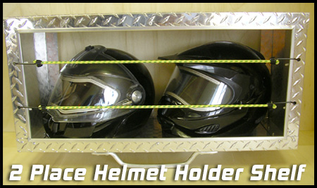 2-Place Diamond Plate Helmet Shelf