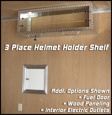 3-Place Diamond Plate Helmet Shelf